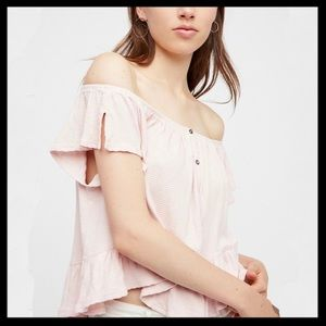 Free People We The Free Mint Julep Ruffle Top
